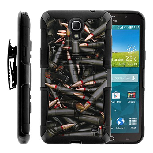 TurtleArmor | Compatible for Samsung Galaxy Mega 2 Case [Hyper Shock] Armor Hybrid Hard Shell Kickstand Fitted Silicone Holster Belt Clip War and Military Design - Black - Samsung Att Galaxy Mega Cases