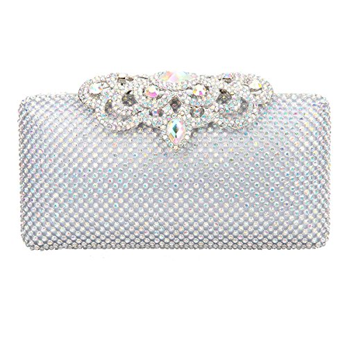 (Fawziya Crown Crystal Clutch Hardshell Evening Clutches For Wedding And Party-AB Silver)