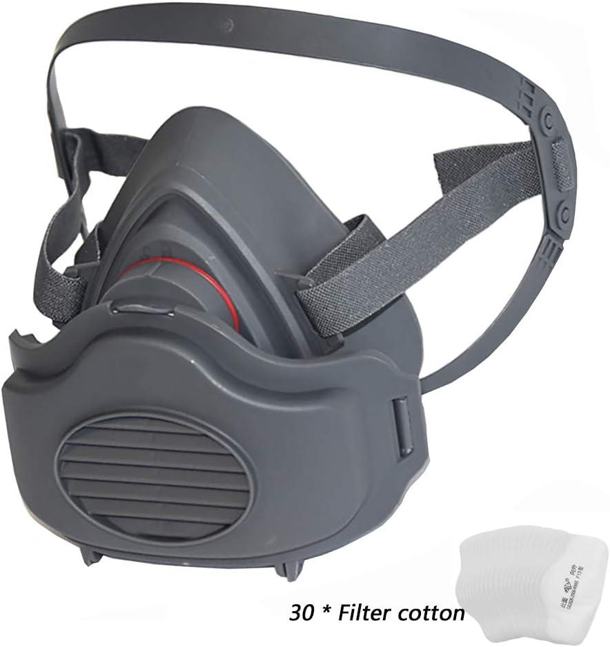 WFLJ Protección Respirador, Reutilizable Respirador de Media Cara Suit Viene con 30 Filtros de Algodón Reemplazables, Ampliamente Utilizado en Gases Orgánicos, Pintura en Aerosol, Industria