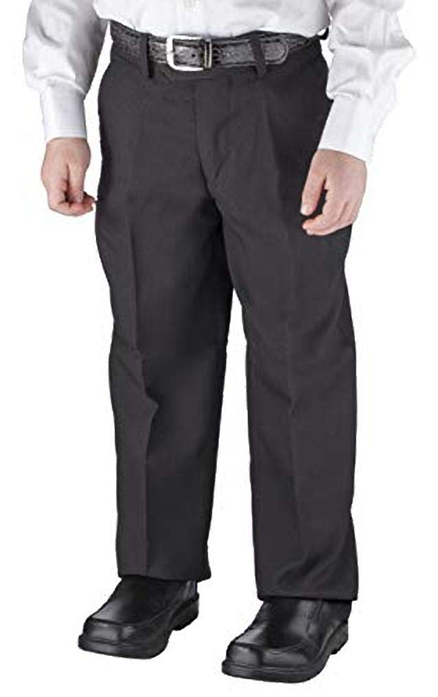 Victorio Cuture Solid Belted Flat Front Slim Fit Boys Dress Pants (Black, 14)