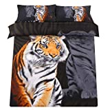 Sandyshow 3pcs Tiger Microfiber Duvet Cover Sets 3D Tiger Bedding Full/Queen Size For boys And Girls Wrinkle, Fade, Stain Resistant,Hypoallergenic