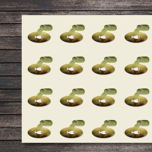 (Water Pollution Fish Sewage Pollution Outfall Craft Stickers, 44 Stickers at 1.5 Inches, Great Shapes for Scrapbook, Party, Seals, DIY Projects, Item 758510)