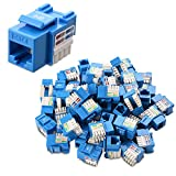 [UL Listed] Cable Matters 50-Pack Cat6 RJ45 Keystone Jack in Blue and Keystone Punch-Down Stand