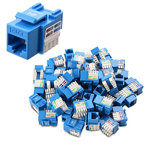 [UL Listed] Cable Matters 50-Pack Cat6 RJ45 Keystone Jack in Blue and Keystone Punch-Down Stand (Jack Cat6 Surface Mount)
