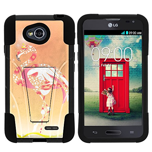 (MINITURTLE Case Compatible w/ LG Ultimate 2 Phone Case, Durable Hybrid STRIKE Impact Stand Case w/ Art Pattern Designs for LG Optimus L70 MS323, LG Optimus Exceed 2 VS450PP, LG Realm LS620, LG Ultimate 2 L41C (Metro PCS, Verizon, Boost Mobile) Flamingo)