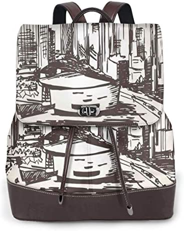 Women's Leather Backpack,Hand Drawn Miami Cityscape Sketch USA Architecture Theme Abstract Buildings,School Travel Girls Ladies Rucksack