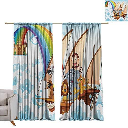 DESPKON-HOME Window Darkening Curtains,Children Many Animals on a Boat Noahs Ark in Fluffy Clouds with Rainbow Fantasy Cartoon Grommet Curtain Backdrop (72W x 72L inch,Multicolor) (Noahs Ark Back Drop)