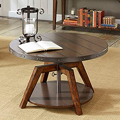 Aspen Motion Round Russet Brown Coffee Table
