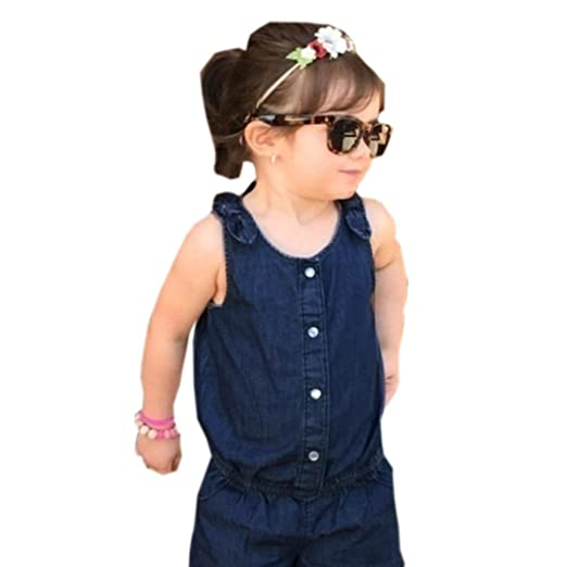 5a9780f8f9b5e Amazon.com  CocoMarket Toddler Baby Kids Girls Denim Romper Jumpsuit  Clothes Outfit Sunsuit  Clothing