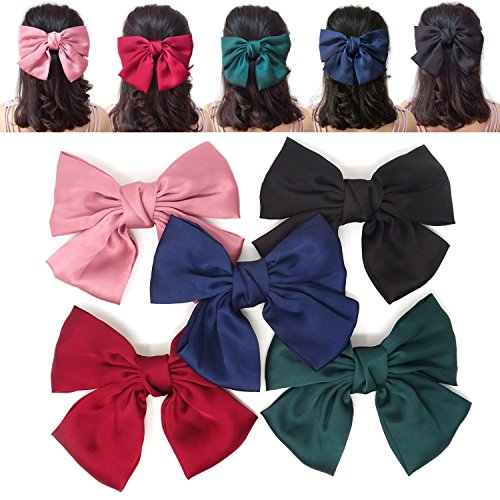 Honbay 5PCS Stylish Big Bow Satin Hair Clips Barrettes for Women and Girls
