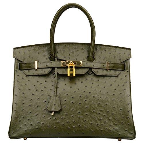 Ainifeel Womens Ostrich Embossed Leather Top Handle Handbags