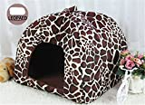 Prettysell Strawberry Cotton Soft Dog Cat Pet Bed House Sponge Dome Tent Bed Cushion Nest(Leopard,XXL)