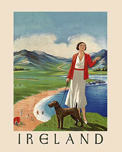 "16"" X 20"" Ireland Irish Lady Irish Terrier Dog Dublin Travel Tourism Vintage Poster Repro Standard Image Size for Framing. We Have Other Sizes Available!"