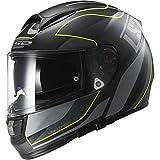 LS2 Helmets Vector Vantage Full Face Motorcycle Helmet with Sunshield (Matte Black/Yellow, X-Small)