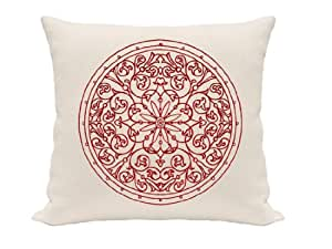 Medallion Crest Pillow Cover Red And Ivory Pillow