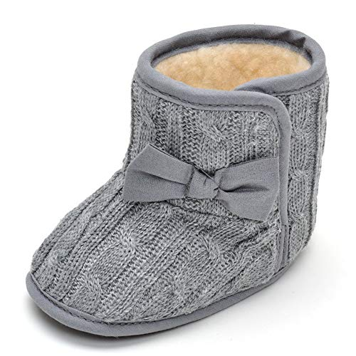 Image of Estamico Infant Baby Bowknot Knitted Warm Winter Snow Boots