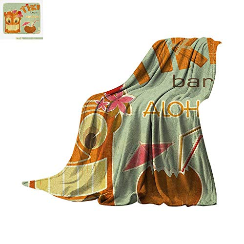 Luoiaax Tiki Bar Custom Design Cozy Flannel Blanket Invitation to Tiki Bar Old Fashion Display Coconut Drink Mask and Flowers Print Digital Printing Blanket 60