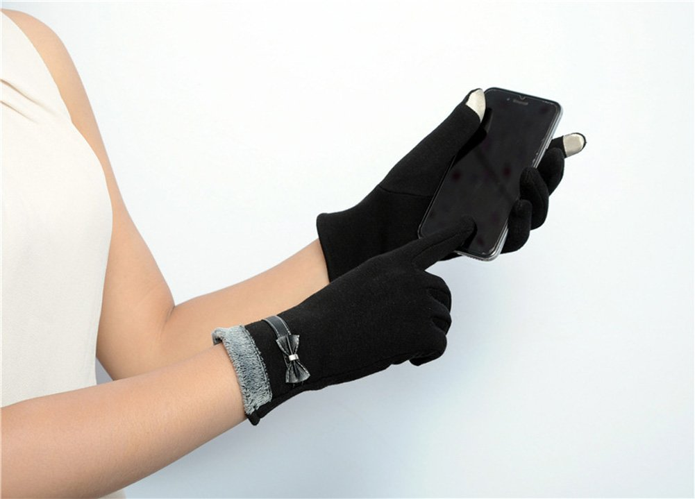 Women's Winter Gloves Touchscreen Texting Glove Fleece Lining Show Thin Black,,One Size by Kitten Fashion (Image #1)