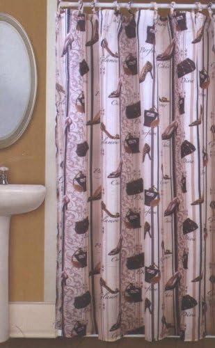 Bathroom Waterproof Fabric Shower Curtain Set Red Black Ladies High Heel Shoe