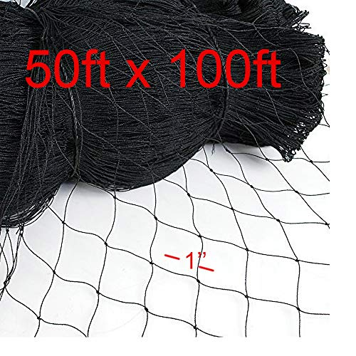 Squirrel Proof Flowers (25Ft x 50Ft Deer Bird Netting Squirrel Net Poultry Chicken Aviary Game Rabbit Fence Trellis Polyester Netting with 1