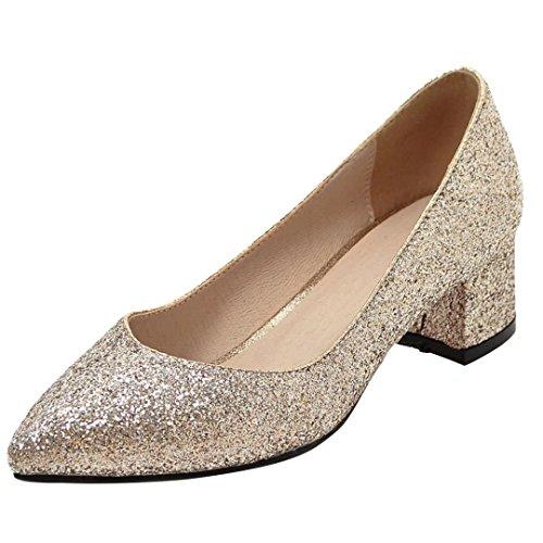 AIYOUMEI Damen Chunky Heel Glitzer Pumps mit 4cm Absatz Bequem Modern Slip On Schuhe Gold