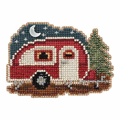 Happy Camper Beaded Counted Cross Stitch Ornament Kit Mill Hill 2017 Autumn Harvest - Mill Kit Stitch Cross