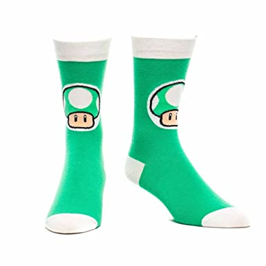 Super Mario 1 Up Mushroom Calcetines (tamaño 9-11, Verde)