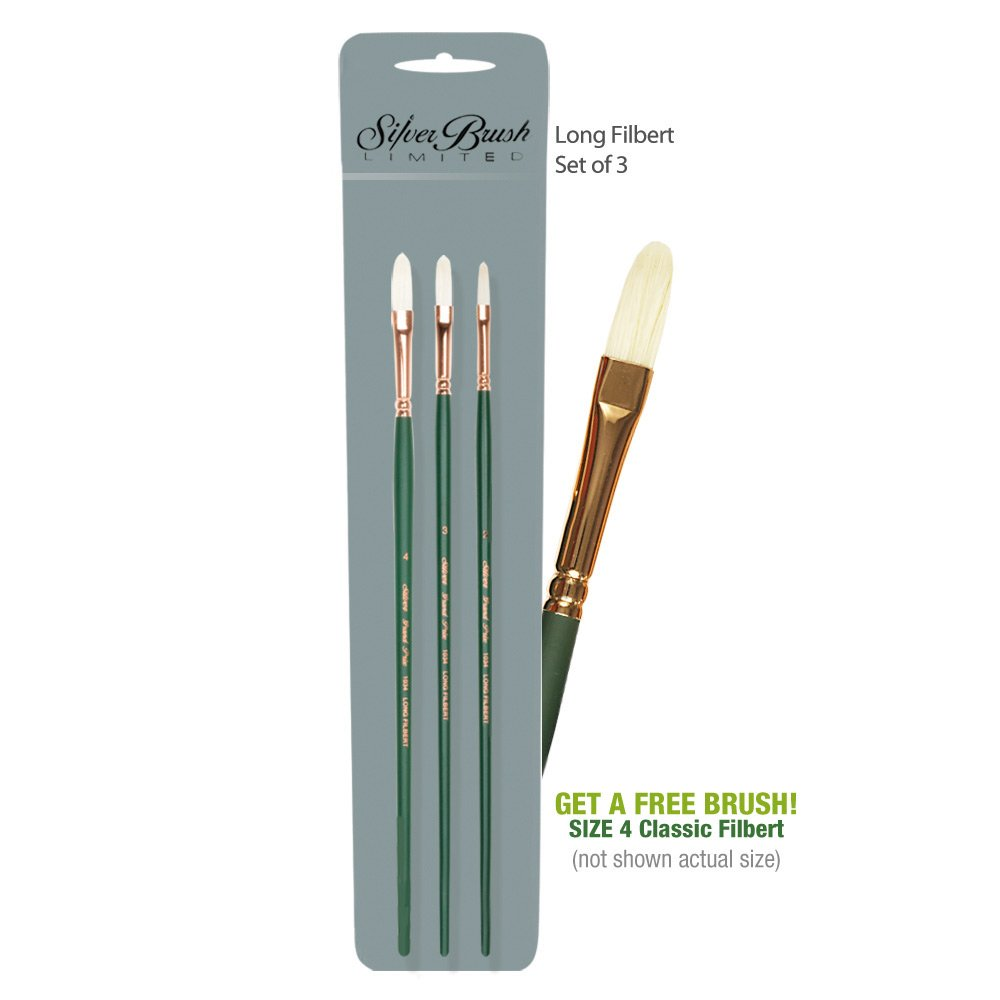 Silver Brush Grand Prix Long Filbert Set of 3 with Free Brush