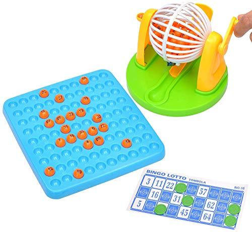 7TECH Bingo Cage Game Set - Puzzle Desktop Toy 3 Colors with Bingo Balls Tangram Puzzles Book,Bingo Game