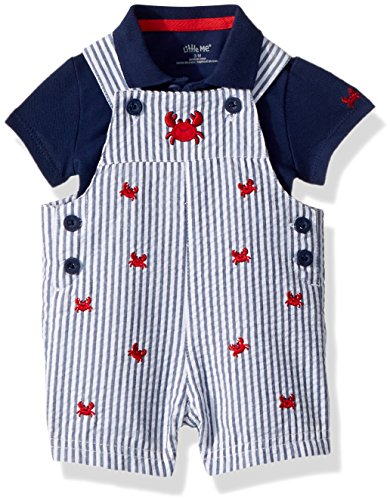 Little Me Baby Boys Knit Shortall Set, Medieval Blue/high Risk red 3 - Baby Boy Shortalls