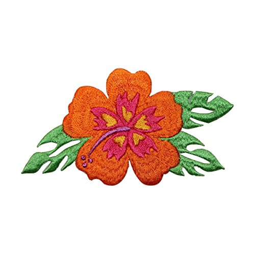 (ID 6390 Orange Hibiscus Patch Exotic Flower Hawaii Embroidered Iron On Applique)