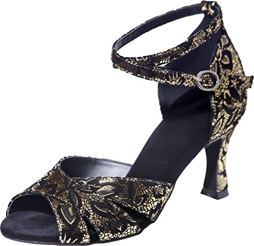 CFP Ladies Latin Dance Shoes Tango Cha-Cha Swing Ballroom Beginner Party Wedding Sudue Sole 3IN Ankle Straps Peep Toe Lint Gold R9a9TO9