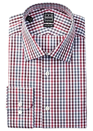 (Ike Behar Men's Long Sleeve Check Dress Shirt Brick Size 15.5)