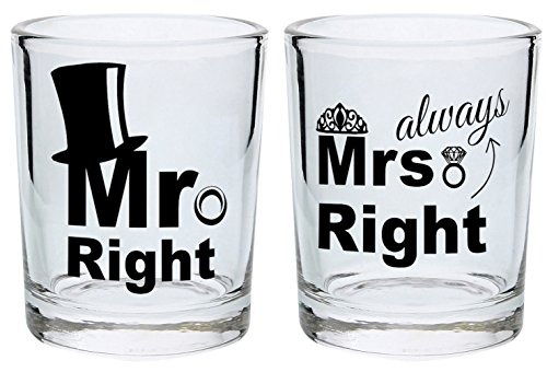 Wedding Gift Shot Glasses Mr Right Mrs Always Right Funny Wedding Gift for Newlyweds Couples Gift Shot Glasses 2-Pack Round Shot Glass Set Black]()
