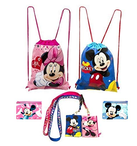 - Disney Mickey and Minnie Mouse Drawstring Backpacks Plus Lanyards with Detachable Coin Purse and Autograph Books (Set of 6)
