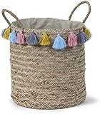 Panier de Rangement Chambre Enfant Tressé avec Pompons Multicolores
