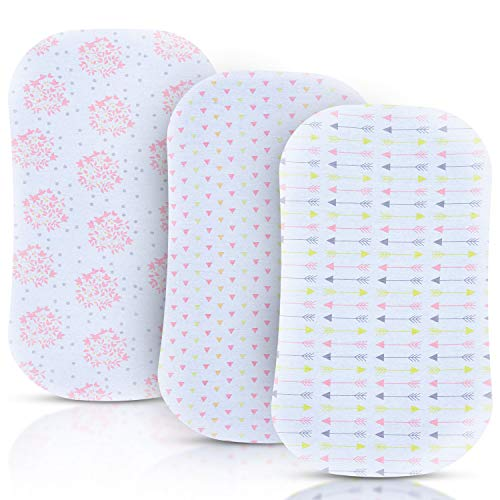 Bassinet Sheets for Baby Girl, 3 Pack Jersey Cotton Cradle Fitted Sheets, Baby Bedding Sheet Set for Rectangle, Oval, or Hourglass Bassinet Mattress