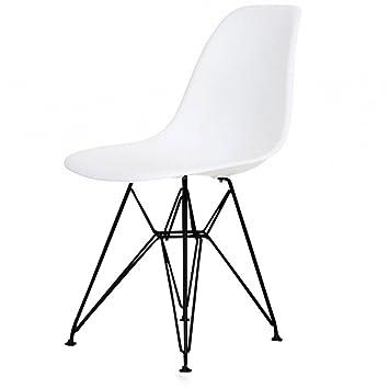 Charles Eames Style Eiffelturm Cool Weiß Kunststoff Retro Seite Stuhl,  Schwarz Beine