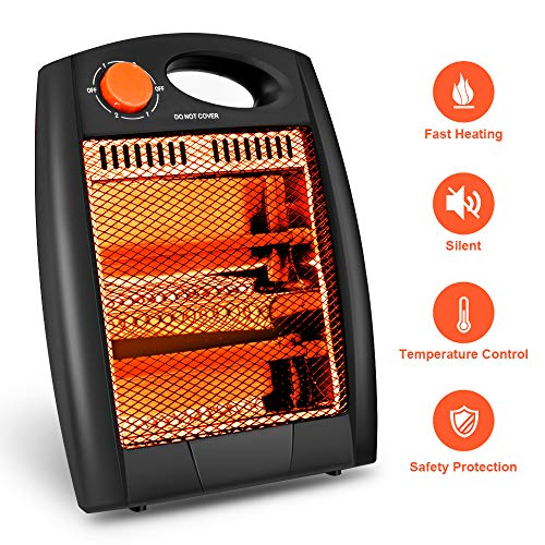 Portable Infrared Heater -Protable Space Heater, Quartz Infrared Heater with 2 Modes Settings, Noiseless Radiant Infrared Heater for home, Warm up Immediately, Overheat & Tip-Over Protection