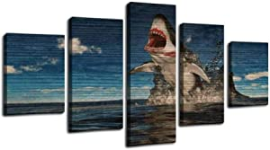 great white shark leaping out of the water great white shark stock Framed Art Wall Painting Pictures Canvas Prints Gallery Wrapped Poster Home Office Living Room Wall Decor Ready to Hang 5 Panel