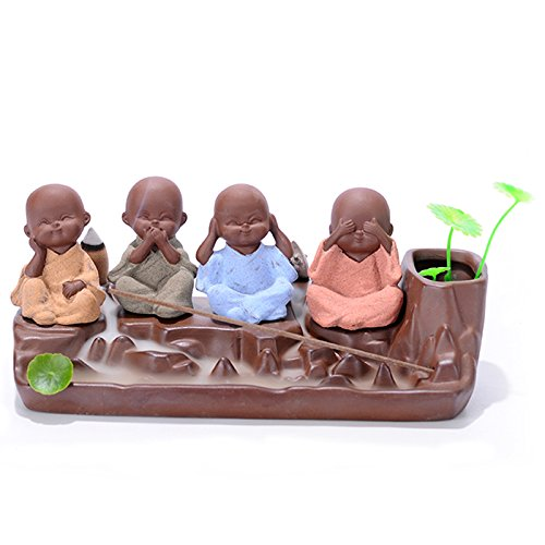 Backflow Incense Burner-Purple Clay & Colored Sand Four Little Monk Cone Incense Burner Stick Incense Holder 10 Cones 2 Leaf for Home Fragrance (Holder Cute Incense)