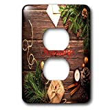 3dRose Christmas - Image of Country Wood With Merry Christmas And Pine Cones - Light Switch Covers - 2 plug outlet cover (lsp_290316_6)