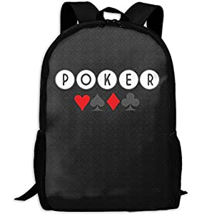 Poker Game Funny Logo Unique Outdoor Shoulders Bag Fabric Backpack Multipurpose Daypacks For Adult