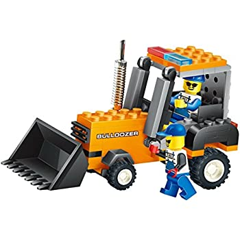 39b27c670 Building blocks Bull Dozer 92 Pcs set, action earth lifting bucket,  operated by 2 construction workers - a must gift for every 6+ engineer,  Compatible To ...
