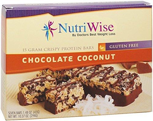 NutriWise - Chocolate Coconut Crispy Diet Protein Bars (7 bars) by NutriWise (Crispy 15 Protein)