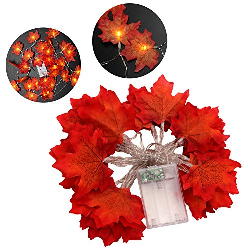 Aytai 9.8ft Maple Leaf String Light 30 LED Fall Garland Battery Operated String LED Light for Harvest Festival Autumn Halloween Christmas Decorations (3 AA Batteries are Not Included)