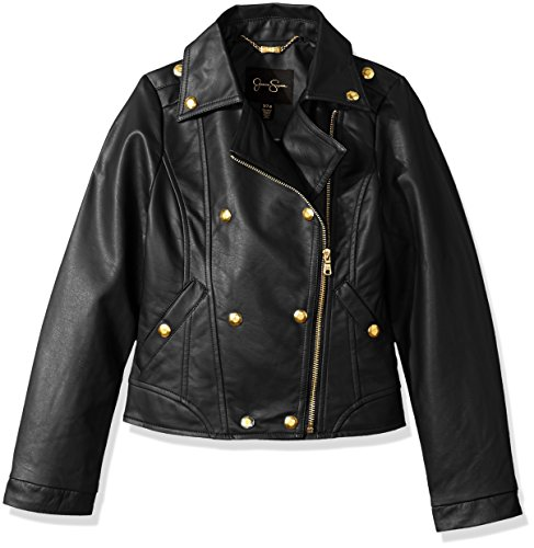 Jessica Simpson Big Girls' Faux Leather Military Jacket