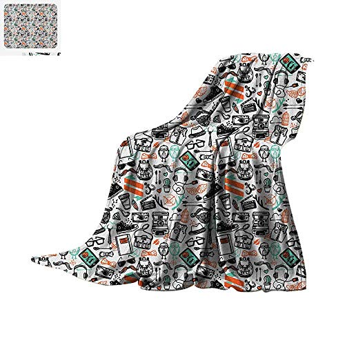 Indie Super Soft Lightweight Blanket Hipster Fashion Themed Pattern Clothing Accessories and Symbols Sketchy Art Custom Design Cozy Flannel Blanket 50
