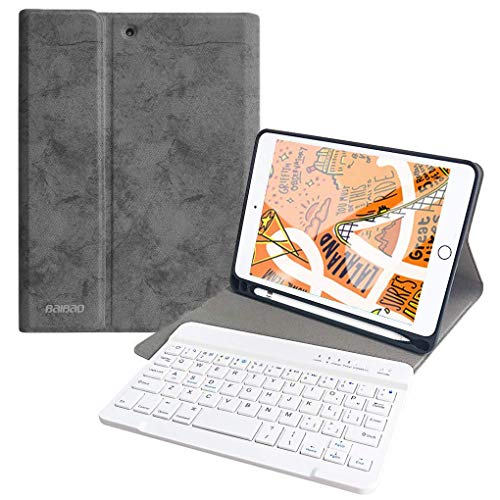 Keyboard Case for iPad Mini 5 2019 / Mini 4 with Pencil Holder, Removable Wireless Bluetooth Keyboard Case for 7.9 iPad Mini 5 / Mini 4