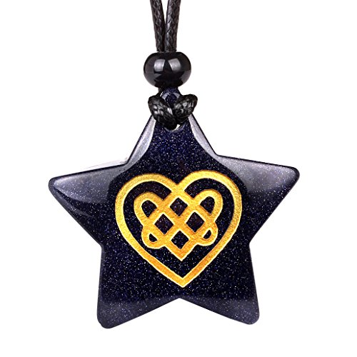- Magical Super Star Celtic Shiled Knot Heart Love Amulet Goldstone Lucky Charm Pendant Adjustable Necklace